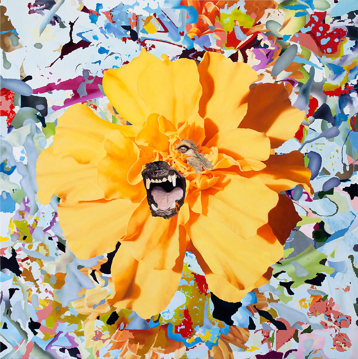 Yellow flower and dog painted by Roberto López