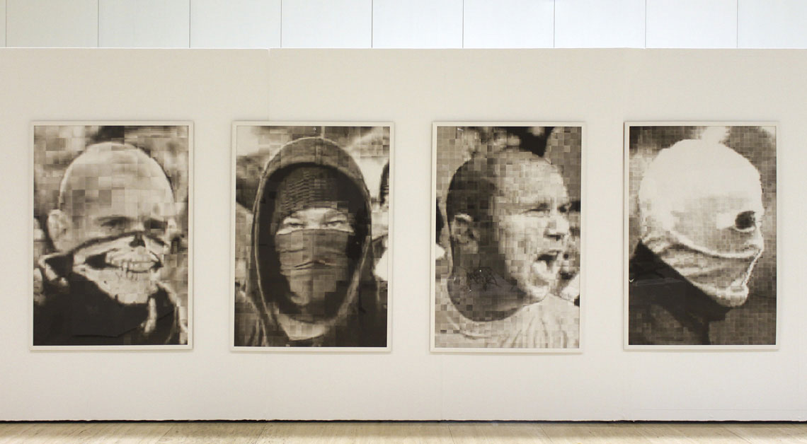 rioters faces - drawing - exhibition - Roberto López