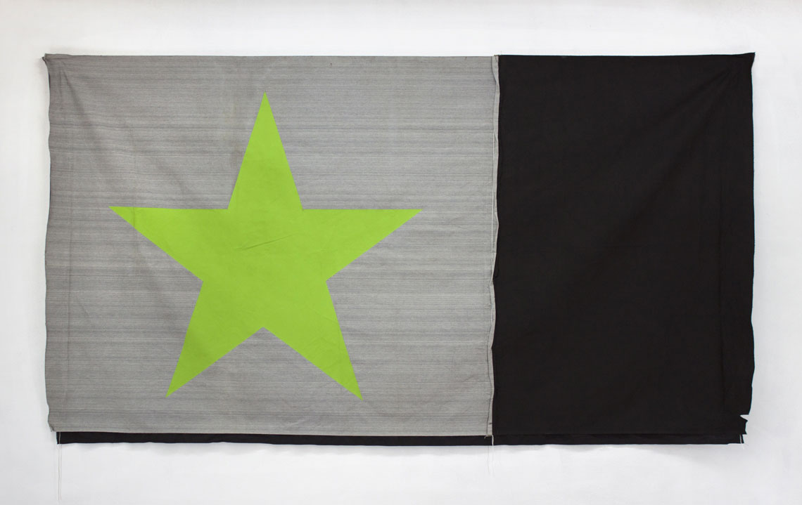 Intense green star on a flag